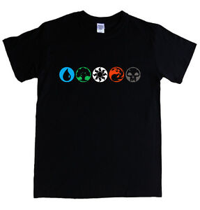 Magic The Gathering T-shirt S - 5xl Blanc Vert Bleu Rouge Noir Mana Symbols-afficher Le Titre D'origine