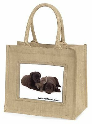 Schwarzer Labrador und Katze große natürliche jute-einkaufstasche