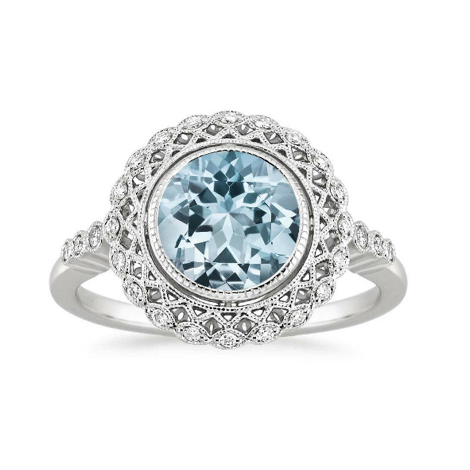 14K White gold Aquamarine Rings 1.55 Ct Genuine Diamond Engagement Ring Size 7 8
