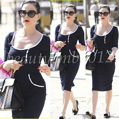 Womens Celeb Style Business Party Summer Casual Sheath Pencil Midi Dress CG623