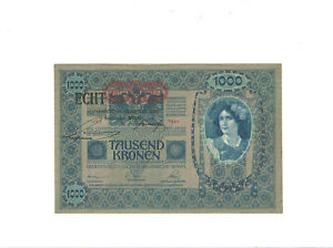 Osterreich-1-000-Kronen-1902-1919-Pick-58-034-ECHT-034-Stempel-UNC