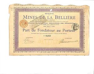 49-MINES-DE-LA-BELLIERE-SCRIPOPHILIE-CERTIFICAT-ACTION-1905