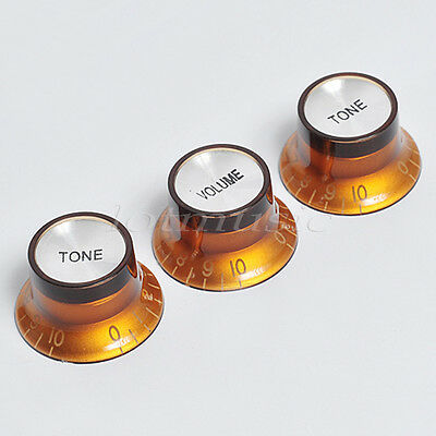 1 Set Guitar Knobs Tone Volume Control Top Hat Knob For Fender Strat Parts Brown