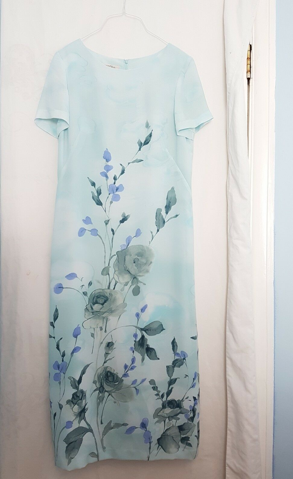Jacques green bluee floral print dress set wedding mother of the bride size10 BK9