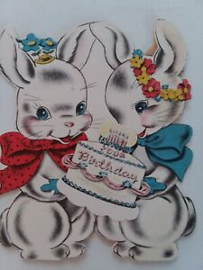 50s-Vtg-2pc-BIRTHDAY-CAKE-BUNNIES-Norcross-Double-Wish-GREETING-CARD