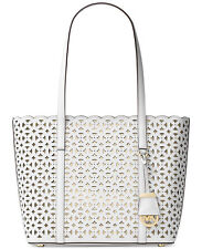 Michael Kors Desi Perforated Saffiano Leather Small Travel Tote (Optic White)