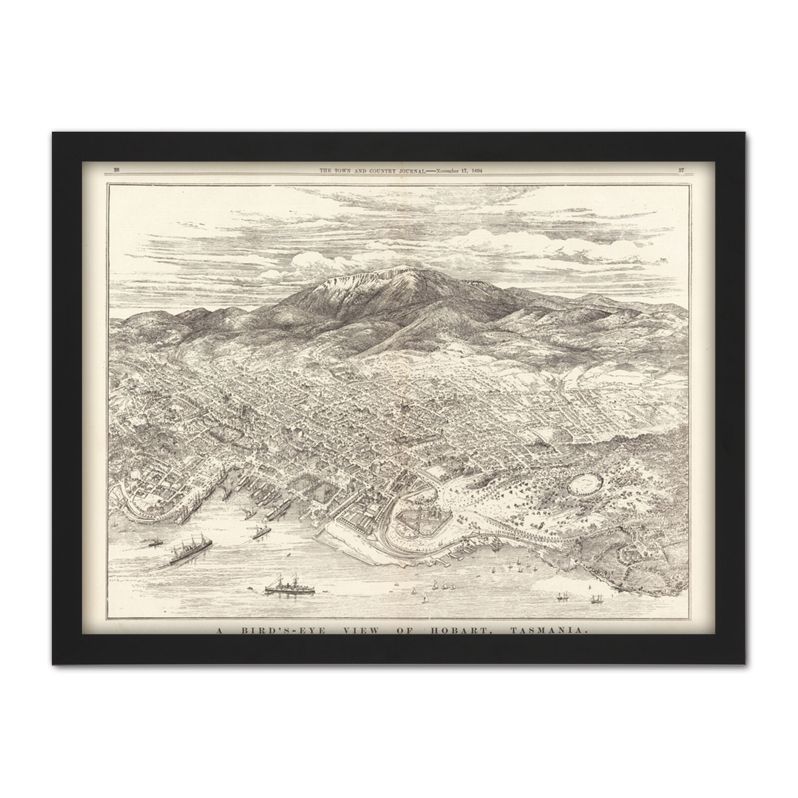Map ATCJ 1894 Bird's Eye View Hobart Tasmania Australia Framed Wall Art Print