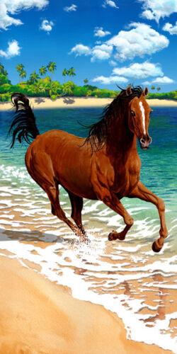 Brown Horse Running on Beach Bath Towel 30 x 60