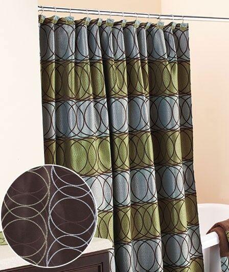 Orbit Circle Chocolate Olive Blue Reversible Fabric Shower Curtain Hook Set