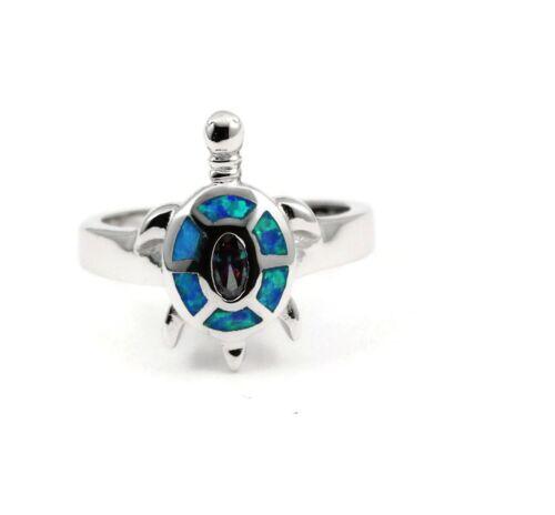 Cute Turtle Ring 925 Sterling Silver Lab Blue Opal Mystic Rainbow Fire Topaz CZ
