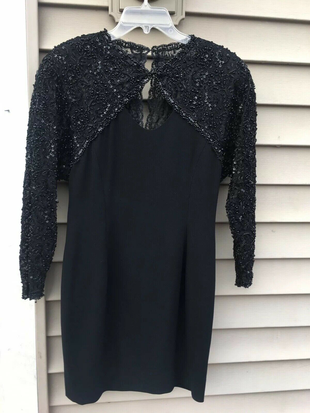 Dore By Della Roufogali Black Sequined Beaded Evening Dress Size 4