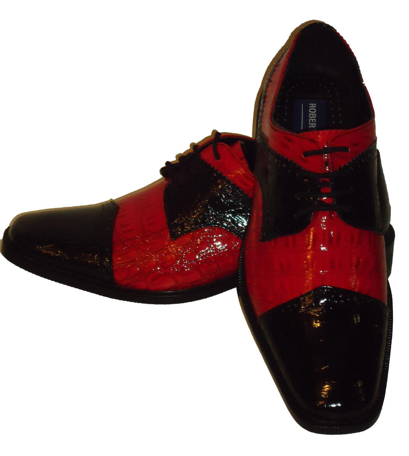 Roberto Chillini Spectator 6744 Mens Wing Tip Spectator Chillini Dress Shoes Glossy Red + Black 6d8e5f