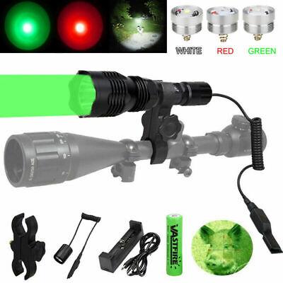 Tactical Red//Green//White LED Hunting Light Hog Night Predator Flashlight Rifle