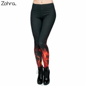 f2968b8601 Details about Zohra Brand Russian style Fire flame Printing Leggings Punk  Women Legging Stretc