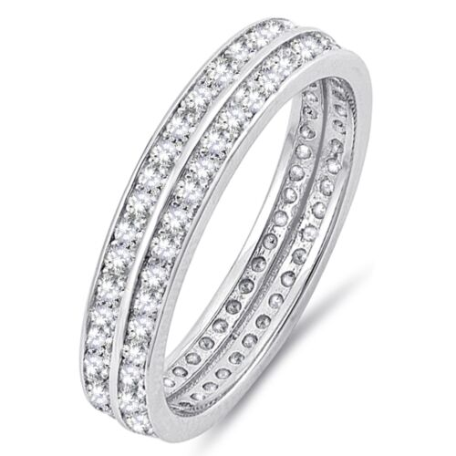 Simulated Diamond Sterling Silver Engagement Wedding Band Ring