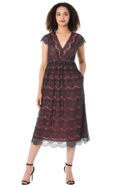 77a306a6ab8f1 Eshakti Black Lace Dress Sz 6 Orange Liner Empire Waist Sheer Sleeve Cross  Front