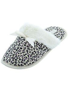 832b893e825c IZOD Beige Leopard Slippers for Women Slip On Scuff Animal Print