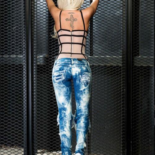 Ocassion Body Damenbody Transparent Top Bluse Damentop Mesh Bodie Bodysuit XS-M