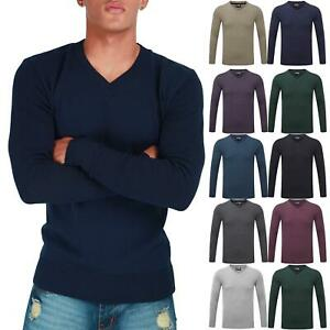 New-Mens-Long-Sleeve-Sweatshirt-Fine-Guage-V-Neck-Jumper-Casual-Sweater-Pullover
