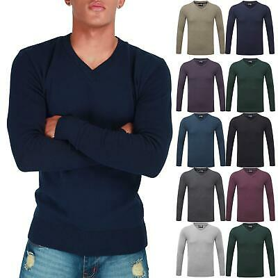 Ehrlich New Mens Long Sleeve Sweatshirt Fine Guage V Neck Jumper Casual Sweater Pullover Einen Einzigartigen Nationalen Stil Haben
