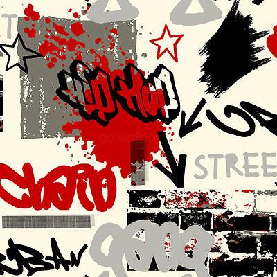 Graffiti Red and Black & Grey Wallpaper 6392 :) x