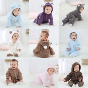Newborn-Baby-Infant-Boy-Girl-Romper-Hooded-Jumpsuit-Bodysuit-Outfits-Clothes-New