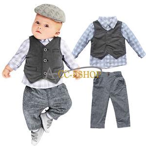 8d4f2f1c4eca Newborn Baby Boy Waistcoat Vest Pants T-Shirt Clothes 3PCs Gentleman ...