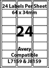Avery L7159 Compatible Inkjet/Laser - 24 Blank Address Labels - 40 Sheets