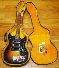 Vintage Hagstrom III Sunburst Electric Guitar with Hard Case