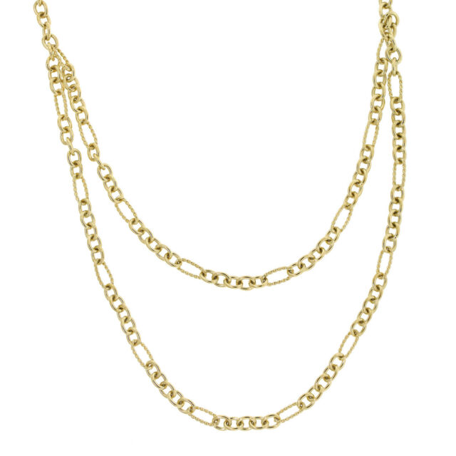 David Yurman 18K Yellow Gold Toggle Clasp Cable Link Figaro Chain Necklace 17