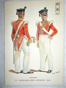 Original-Military-Watercolour-71st-Foot-Highland-Light-Inf-Buglers-Stadden