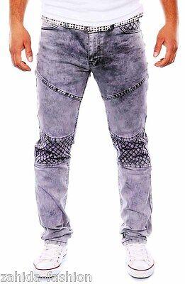 Herren Jogg-Jeans Jogger Jeans Chino Hose Cargo Strech Elasthan GRAU Verwaschen