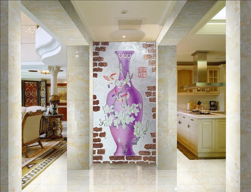 3D lila Vase Bird 665 Wall Paper Wall Print Decal Wall Deco Indoor Mural Lemon