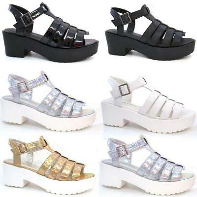 Ladies Sandals Womens Block Chunky Heel Strappy Gladiator Cut Out Platform Shoes