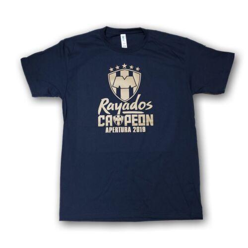 "Rayados de Monterrey /""Campeon Apertura 2019/"" Navy Blue Men/'s T-shirt Gold Logo"