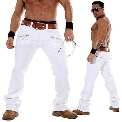 KOSMO LUPO K&M Designer Jeans Hose Cargo Style Chino Weiß KM 1373