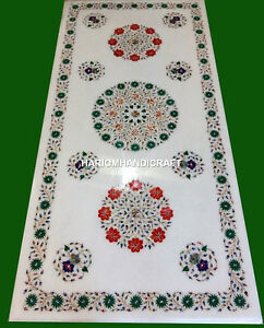 White Marble Center Dining Table Inlaid Multi Mosaic Home Art Outdoor Decorative