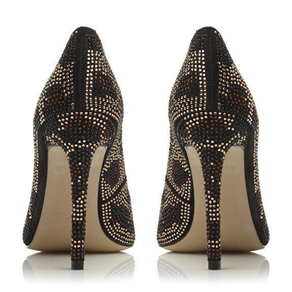 STEVE STEVE STEVE MADDEN PIZAZZ Gold Diamante Embellished high heel party courts Größe 3 bf6765