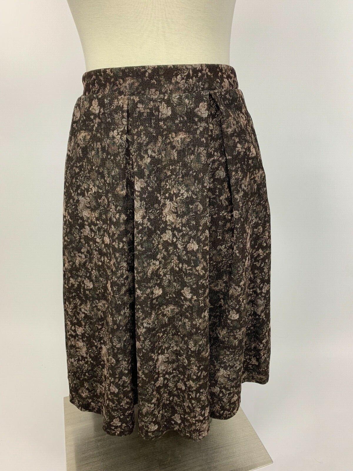 LulaRoe Brown Sepia Vintage Floral Madison Pleated Stretch Skirt Large Nice