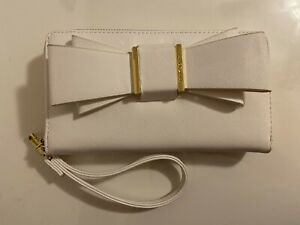Betsey Johnson Zip Around Wallet with Double Bow Accent Includes Wrist Strap
