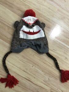 Adult Size Sock Monkey Toboggan Ski Style Crochet Knit Beanie Hat Fleece Lining