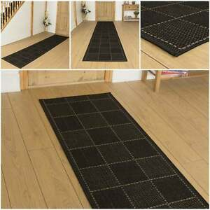 karo schwarz flachgewebe sisal stil flur teppichl ufer. Black Bedroom Furniture Sets. Home Design Ideas