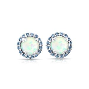 Image Is Loading Round Halo Simulated Opal Amp Tanzanite Stud Earrings