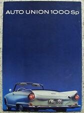AUTO UNION 1000 SP Car Sales Brochure c1962 #WB 3785 (16-J-122).