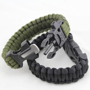 Image Is Loading Survival Tactical Bracelet Outdoor Paracord Ser Whistle Flint