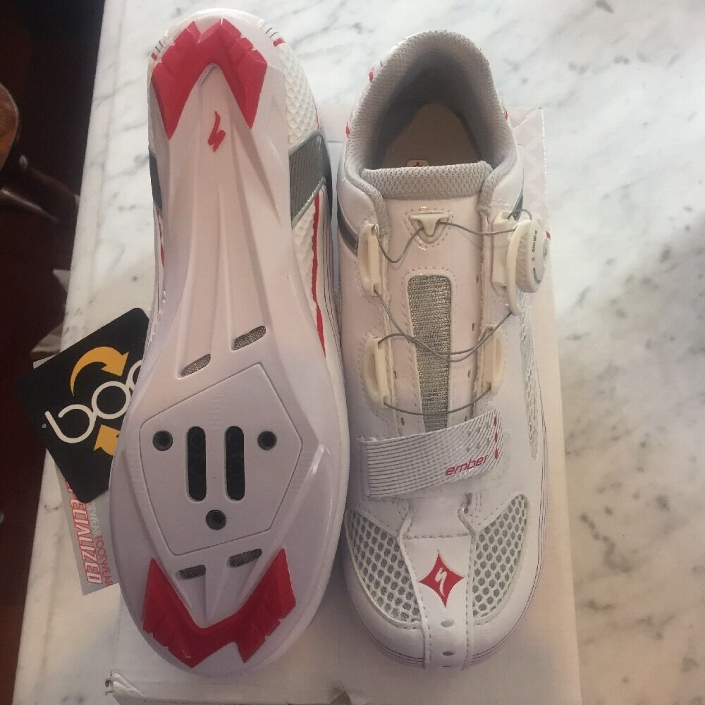 NIB Specialized Ember Road Size 40.5 Euro, 9.25 US White Red 2 3-bolt BOA