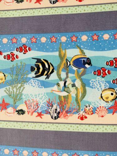 Tela de Algodón Azul Náutico de Arrecife de Coral Artesanía Quilting fabric peces Finding Nemo