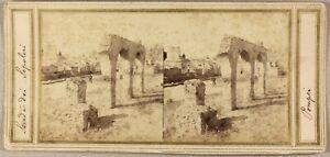Italia Pompei Ruines Foto Stereo P8L1n Vintage Albumina c1860