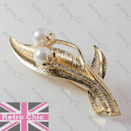 Hojas Elegante Perla Y Crysta broche de oro plateado con textura Hoja Retro Vintage Style