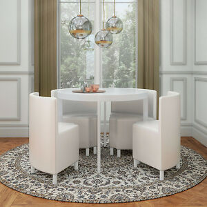 White High Gloss Round Esaver Stowaway Dining Set With 4 Pu